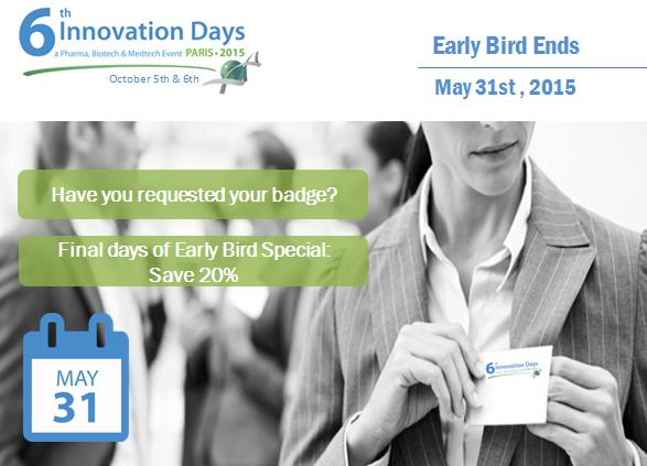 Last days for the Early Bird for Innovation Days 2015 !
